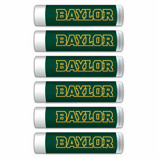 TX-BU-6PKSM: Baylor Bears Premium Lip Balm 6-Pack with SPF 15- Beeswax- Coconut Oil- Aloe Vera