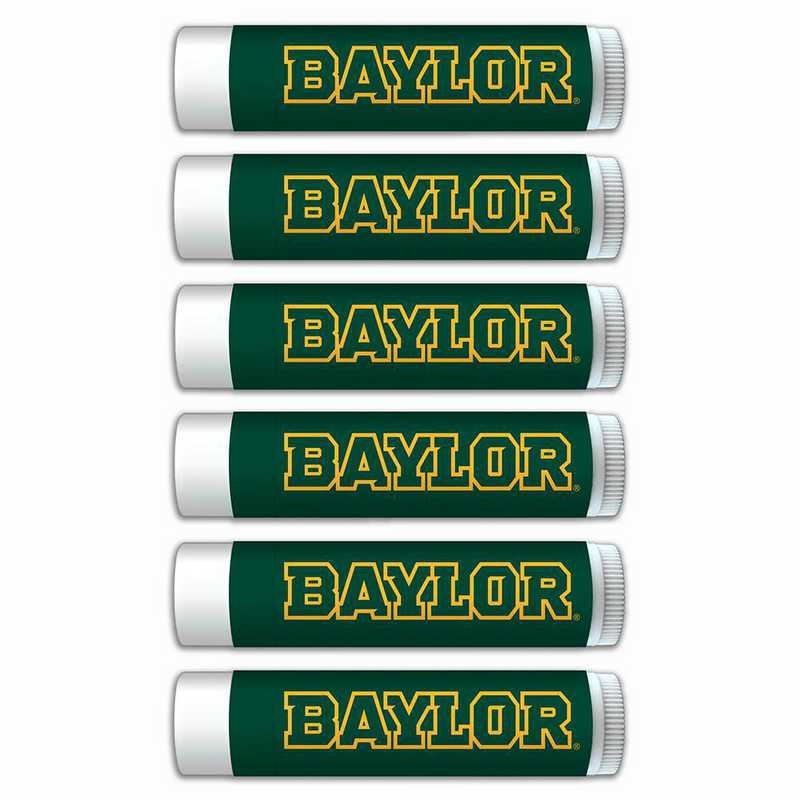 TX-BU-6PKSM: Baylor Bears Premium Lip Balm 6-Pack with SPF 15- Beeswax- Coconut Oil- Aloe Vera