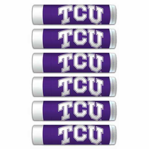 TX-TCU-6PKSM: Texas Christian Horned Frogs Premium Lip Balm 6-Pack with SPF 15- Beeswax- Coconut Oil- Aloe Vera