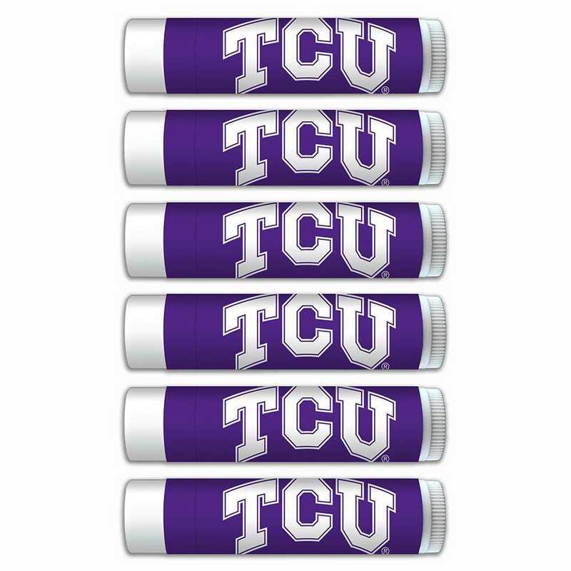 TX-TCU-6PKSM: Texas Christian Horned Frogs Premium Lip Balm 6-Pack with SPF 15- Beeswax- Coconut Oil- Aloe Vera