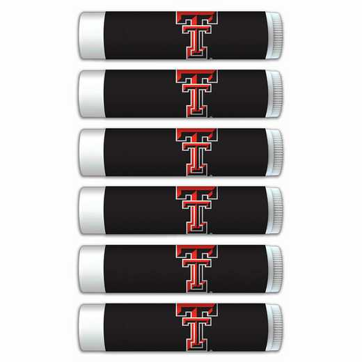 TX-TXT-6PKSM: Texas Tech Red Raiders Premium Lip Balm 6-Pack with SPF 15- Beeswax- Coconut Oil- Aloe Vera