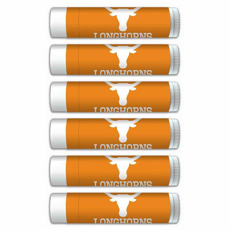 TX-UT-6PKSM: Texas Longhorns Premium Lip Balm 6-Pack with SPF 15- Beeswax- Coconut Oil- Aloe Vera
