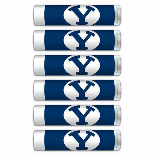 UT-BYU-6PKSM: Brigham Young Cougars Premium Lip Balm 6-Pack with SPF 15- Beeswax- Coconut Oil- Aloe Vera
