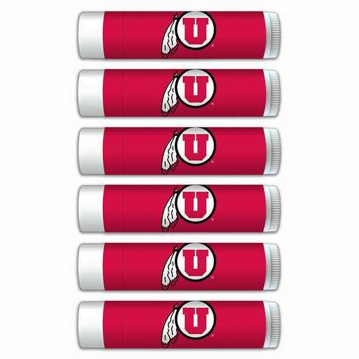 UT-UUT-6PKSM: Utah Utes Premium Lip Balm 6-Pack with SPF 15- Beeswax- Coconut Oil- Aloe Vera