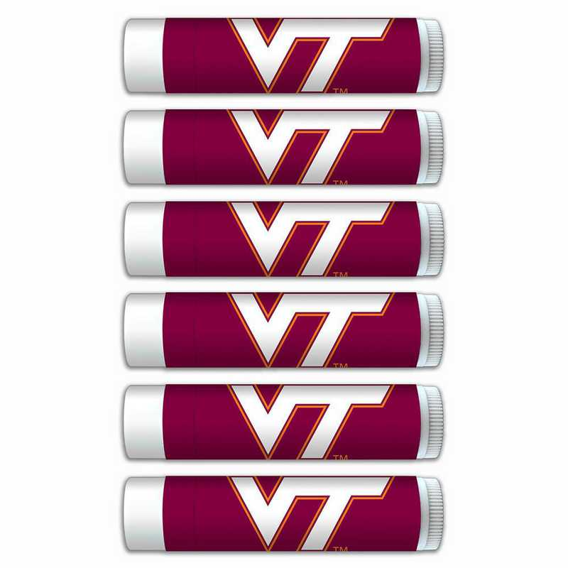 VA-VT-6PKSM: Virginia Tech Hokies Premium Lip Balm 6-Pack with SPF 15- Beeswax- Coconut Oil- Aloe Vera
