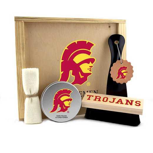 CA-USC-GK1: Southern Cal Trojans Gentlemen's Shoe Care Gift Box