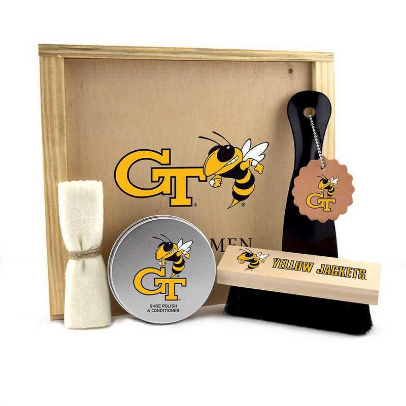 GA-GT-GK1: Georgia Tech Yellow Jackets Gentlemen's Shoe Care Gift Box