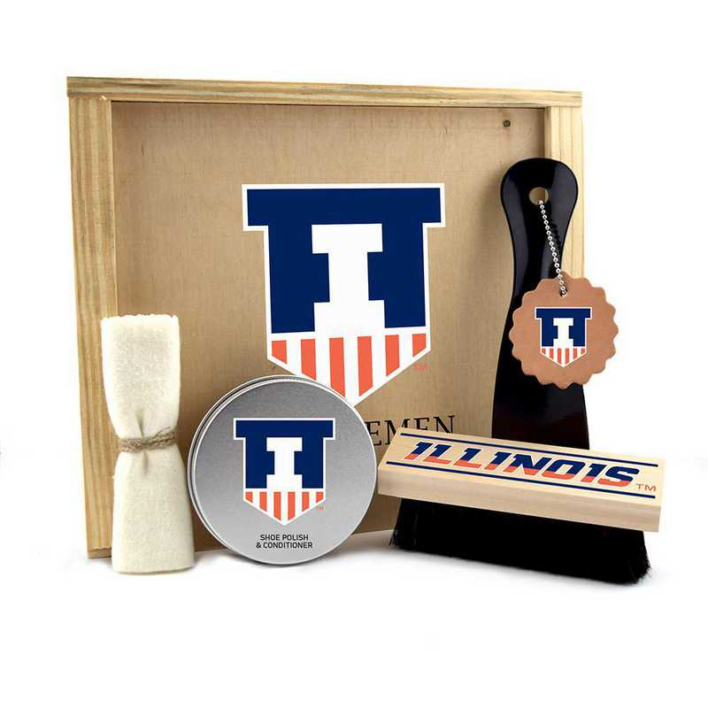 IL-UI-GK1: Illinois Fighting Illini Gentlemen's Shoe Care Gift Box