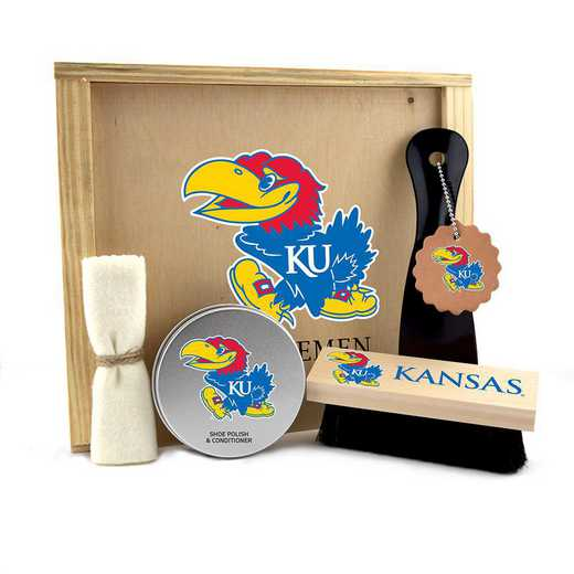KS-KU-GK1: Kansas Jayhawks Gentlemen's Shoe Care Gift Box
