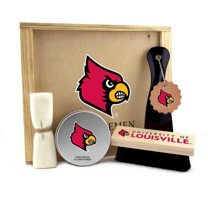 KY-UL-GK1: Louisville Cardinals Gentlemen's Shoe Care Gift Box