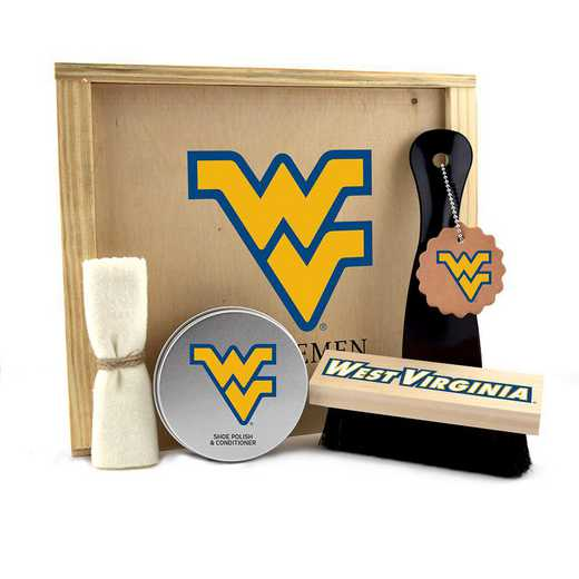 WV-WVU-GK1: West Virginia Mountaineers Gentlemen's Shoe Care Gift Box