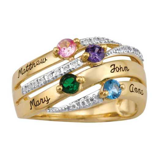 Windswept Family Birthstone Ring
