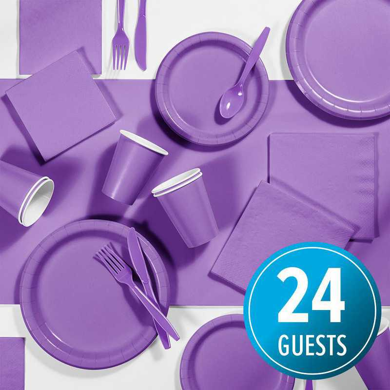 DTC1948E2A: CC Amethyst Purple Party Supplies Kit, 24 ct