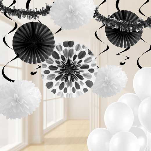 DTCBLKWT1A: CC Black and White Party Decorations Kit