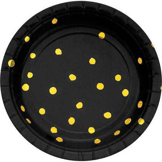 DTC329932PLT: CC Black and Gold Foil Dess Plates - 24 Ct