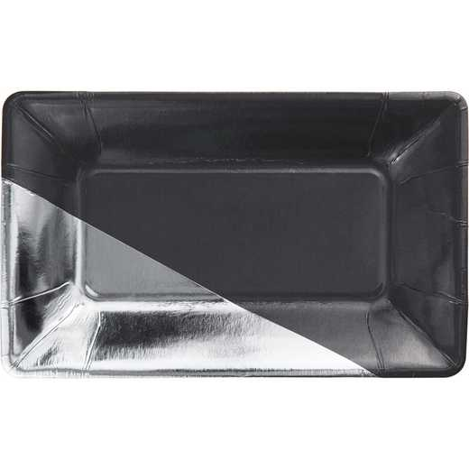 DTC329887APLT: CC Charcoal and Silver Foil Appetizer Plates