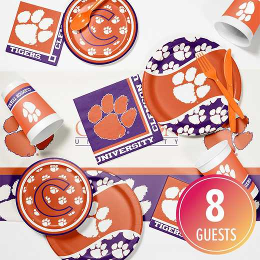 DTC4831C2A: CC Clemson University Game Day Party Supplies Kit 8ct