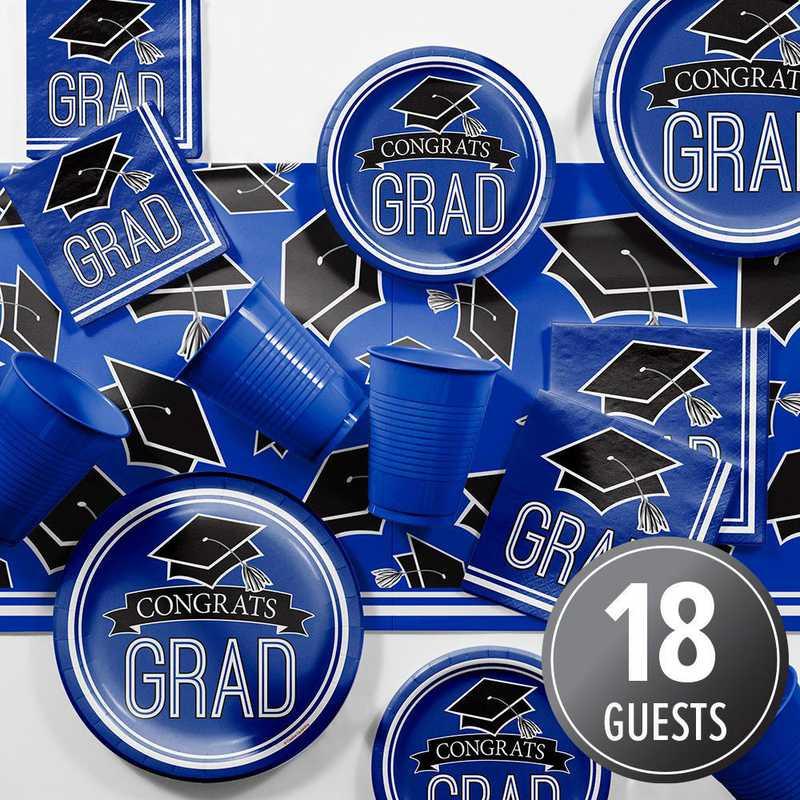 DTCCOBLT2A: CC Graduation School Spirit Blue Party Supplies Kit 8ct