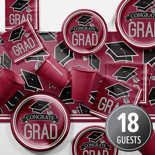 DTCBNGDY2A: CC Graduation Spirit Burgundy Red Party Supplies Kit 8ct