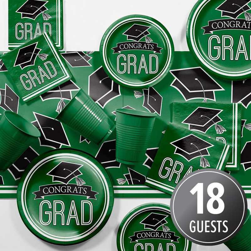 DTCGREEN2A: CC Graduation School Spirit Green Party Supplies Kit 8ct