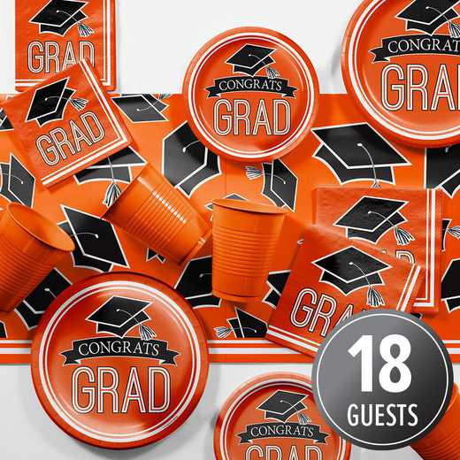 DTCORNGE2A: CC Graduation School Spirit Orange Party Supplies Kit 8ct
