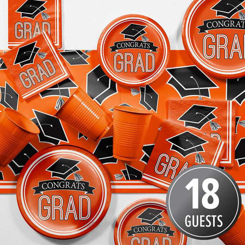 DTCORNGE2A: CC Graduation School Spirit Orange Party Supplies Kit 8ct