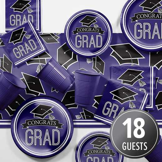 DTCPURPL2A: CC Graduation School Spirit Purple Party Supplies Kit 8ct