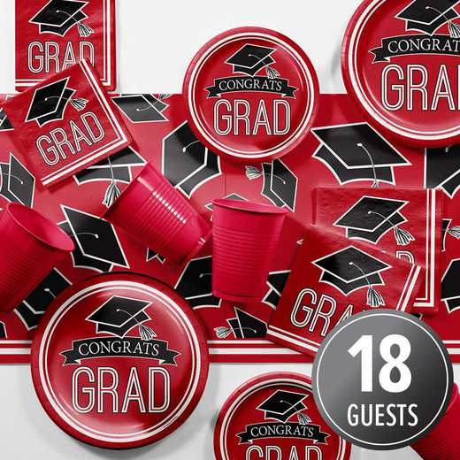 DTCCLRED2A: CC Graduation School Spirit Red Party Supplies Kit 8ct