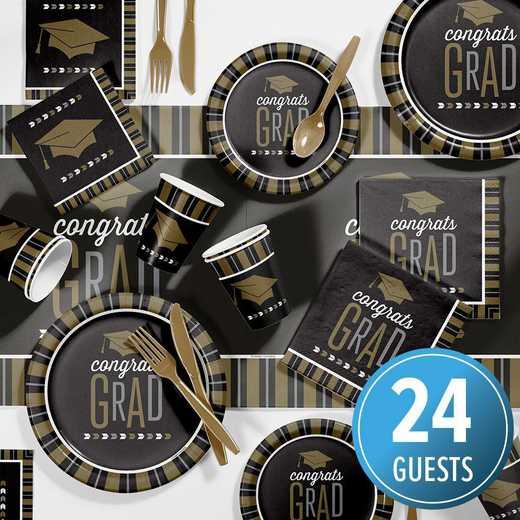 DTC2896E2B: CC Large Silver/Gold Glitz Graduation Party Supplies Kit 8ct