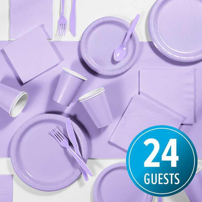 DTC3265X2A: CC Lavender Purple Party Supplies Kit, 24 ct