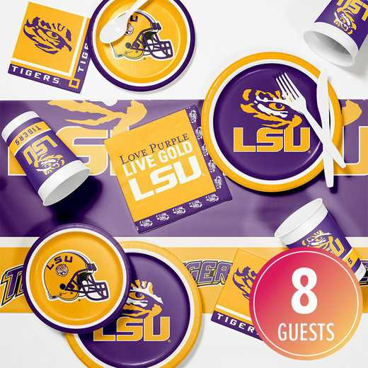 DTC4838C2A: CC Louisiana St University Game Day Party Supplies Kit 8ct