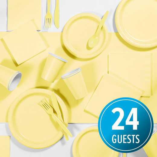 DTC3266X2A: CC Mimosa Yellow Party Supplies Kit, 24 ct