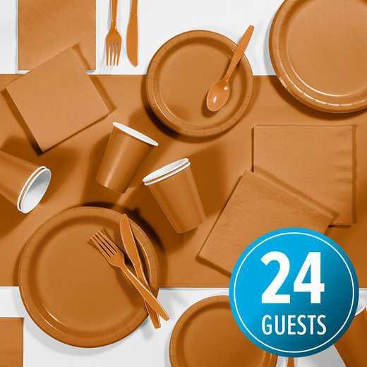DTC2505E2A: CC Pumpkin Spice Orange Party Supplies Kit, 24 ct