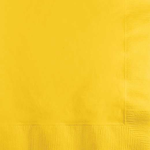 801021B: CC School Bus Yellow Beverage Napkins - 50 Count