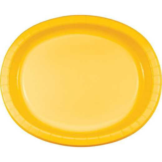 DTC433269OVAL: CC School Bus Yellow Oval Plates - 24 Count