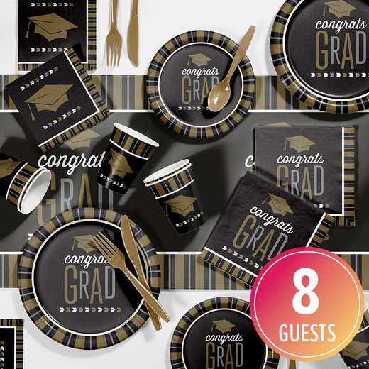 DTC2896E2A: CC Silver and Gold Glitz Graduation Party Supplies Kit 8ct