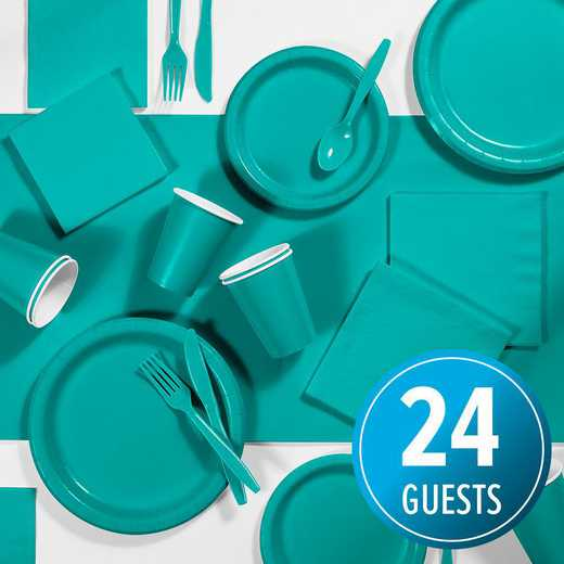 DTC2666E2A: CC Teal Lagoon Party Supplies Kit, 24 ct