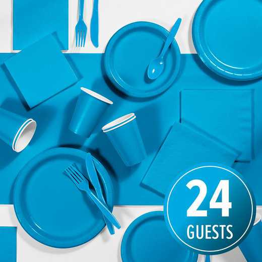 DTC3131C2A: CC Turquoise Party Supplies Kit, 24 ct