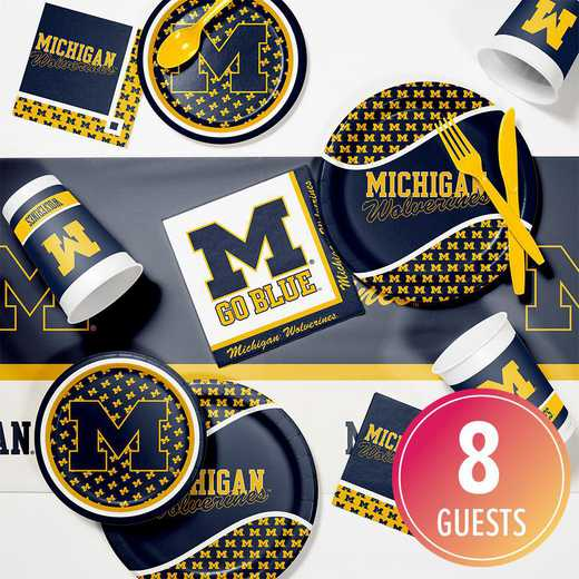 DTC4715C2A: CC University of Michigan Game Day Party Supplies Kit 8ct