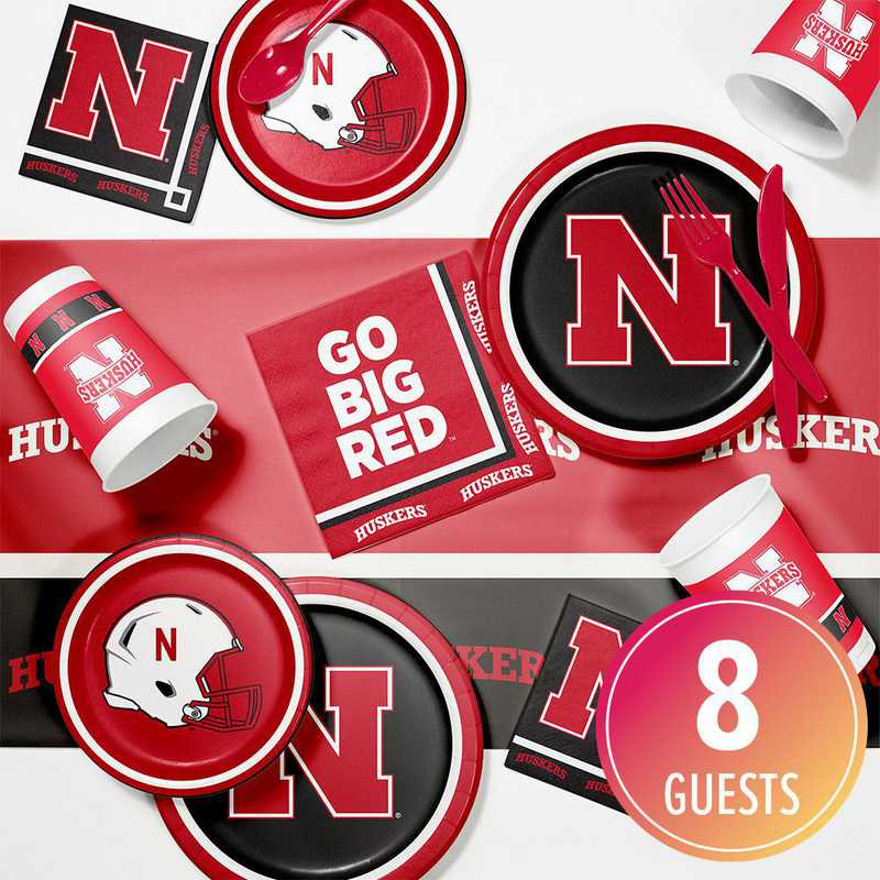DTC4853C2A: CC University of Nebraska Game Day Party Supplies Kit 8ct