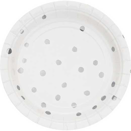 DTC329936PLT: CC White and Silver Foil  Dess Plates - 24 Ct