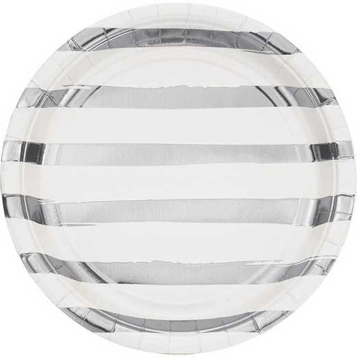 DTC329938DPLT: CC White and Silver Foil Striped Paper Plates - 24 Ct