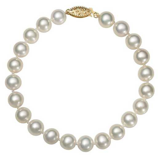 "BF-89-A-8-BF: 14KT YELLOW GOLD 7.5-8.5MM FRESHWATER PEARL 8"" BRACELET"