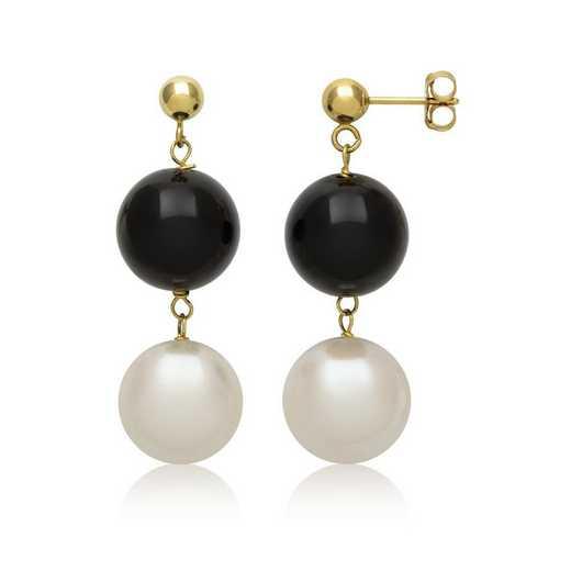 E-3712Y-FM: 14KT YG 8½-9½mm Frshwtr Pearl & 10mm Black Onyx Earrings