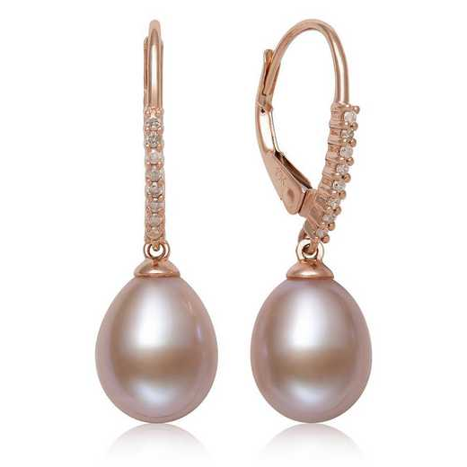 E-4632RP10-BF: CP 10KT RG 8-9MM DROP PINK FWP & DIAMOND LEVER BACK EARRINGS