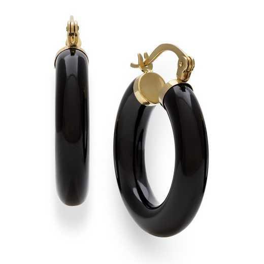 E-3097-BF: 14KT YG 25mm Black Onyx Hoop Earrings