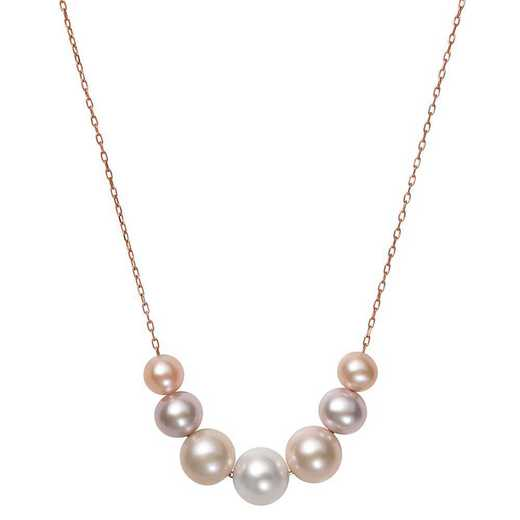"""N-1392R10-BF: CP 10KT RG 6-9½MM MULTI FWP 18"""" NECKLACE"""