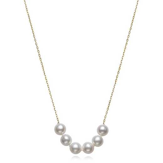 """N-1393Y-BF: CP 14KT YG 7-8MM FWP 18"""" NECKLACE"""