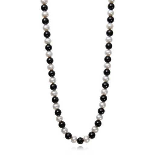 """N-814Y24-BF: 14KT YG 7½-8½mm Frshwtr Pearl & 8mm Black Onyx 24"""" Necklace"""