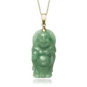 Green Jade 22.8 mm x 26.6 mm Buddha Pendant 14k Yellow Gold